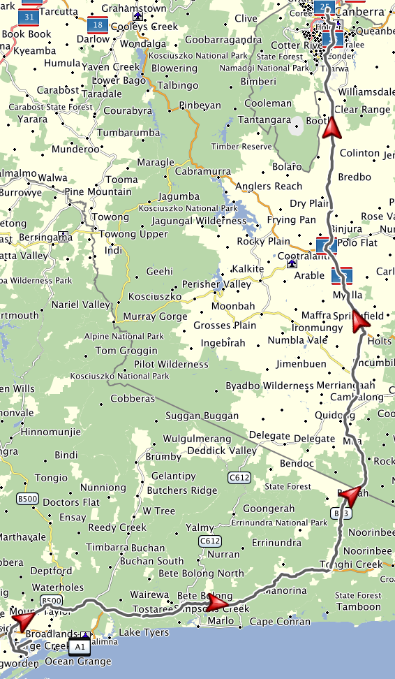 Map showing route from Paynesville to Canberra