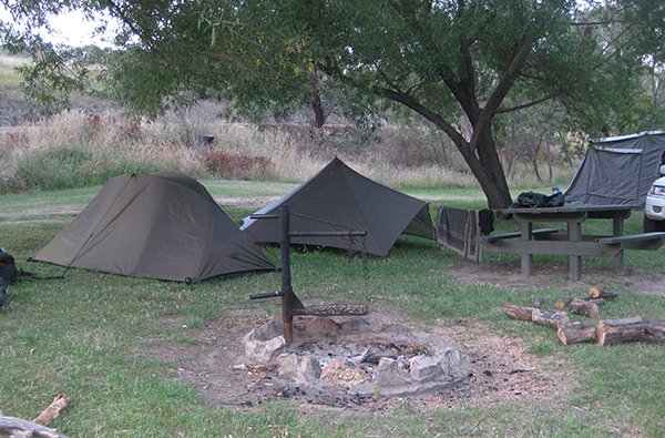 Photo of our camping space at Anglers Rest