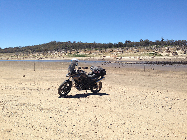 My bike in front of Lake Eucumbene