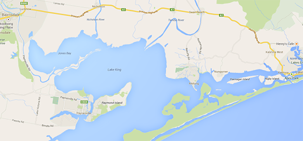 Map of Lake King showing where we were in relation to Paynesville and Lakes Entrance