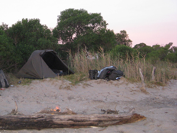 Photo of our campsite on the beach