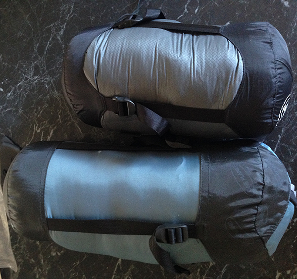 New and old sleeping bags. The new bag is about 3/4 the length of the old