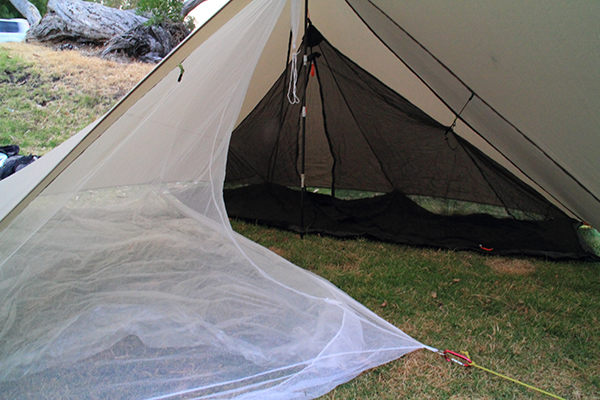 The trailstar, set up with 2 mozzie nets and still plenty of room for gear