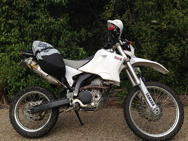 Wr250R, with giant loop luggage