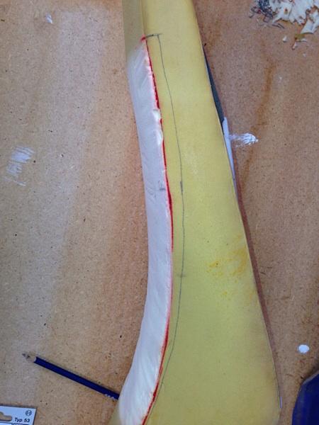 Marking the foam before cutting