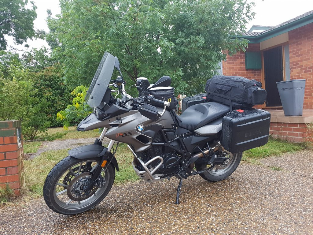 Motorbike, all packed and ready to go