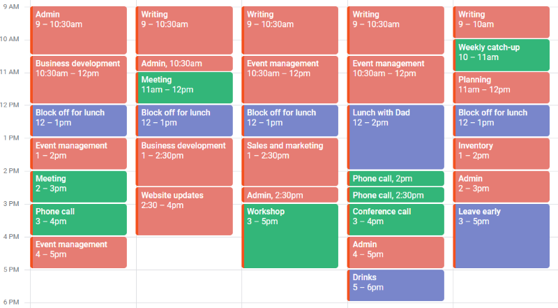 An example of a calendar. Meetings and appointments are in different colours. Around them are time blocks of an hour to an hour and a half, with different tasks in the title of the meeting